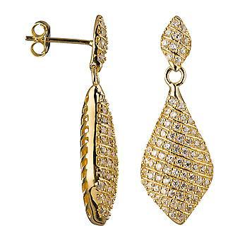 Orphelia Silver 925 Drop Earring Pave In Lines Zirconium 158 Stones  ZO-5886-GOLD