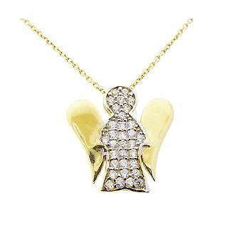 Colar de ouro e zircônia pequeno pingente de anjo