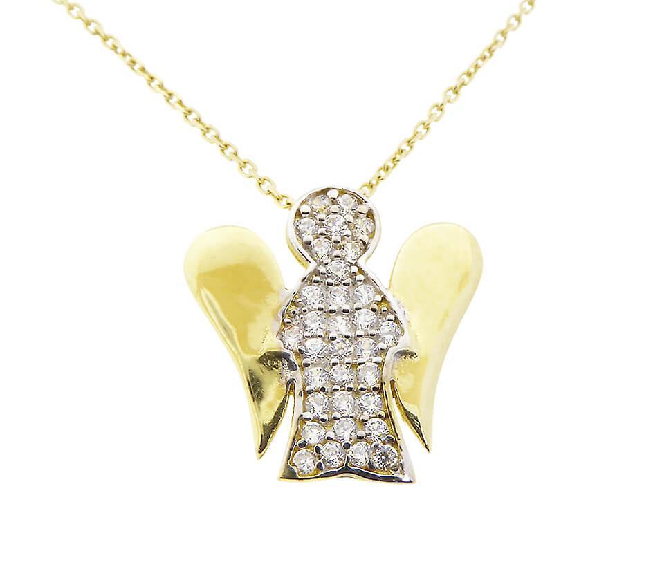 Gouden collier en zirkonia engeltje hanger