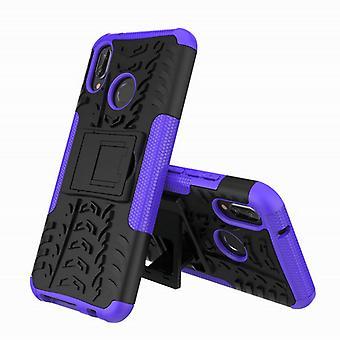 Für Huawei P20 Lite Hybrid Case 2teilig Outdoor Lila Etui Tasche Hülle Cover Schutz