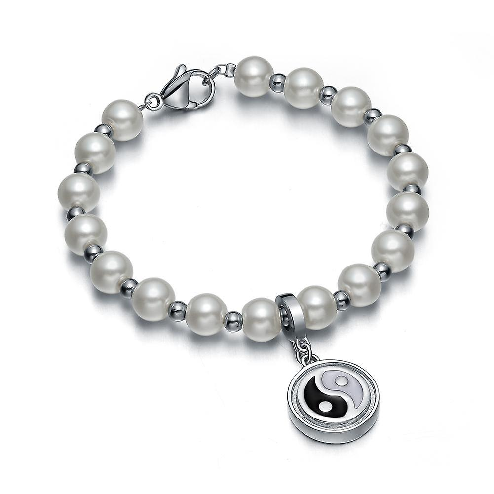Amulet Positive Powers Simulated Pearl Snow White Yin Yang Magic Circle Energy Elegant Bracelet