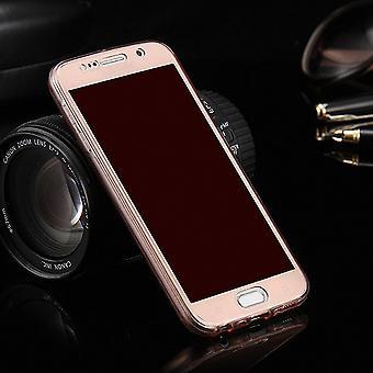Gevaldekking van het kristal voor Samsung Galaxy S6 roze frame volledige body