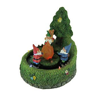 Em volta do fogo LED Light Up Garden Gnomos Motion Estátua