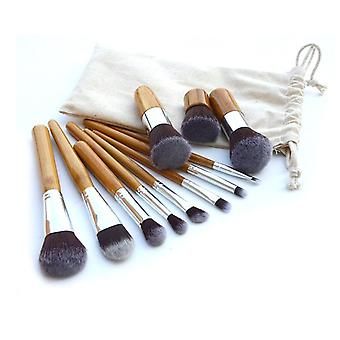 11 Make Up Brushes Set - Synthetic Hair Aluminium Ferrule Bamboo Handle Linen Bag