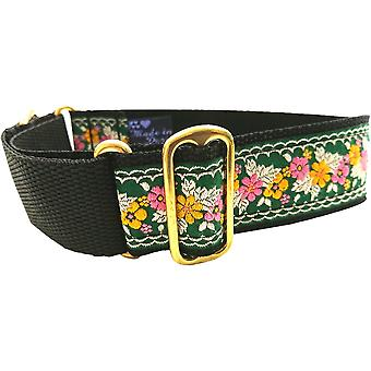 Dogcrafts Martingale 40mm Pink Orange White Green Jacquard Ribbon Brass Dog Collar