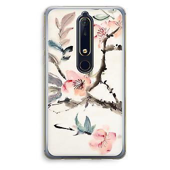 Nokia 6 (2018) gennemsigtig sag (Soft) - Japenese blomster