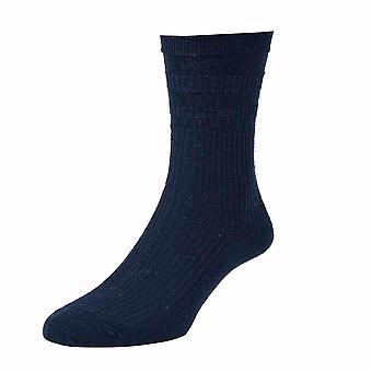 6 Pair Pk Hj Hall Hj90 Wool Rich Softop Loose Top Non Elastic Socks 4-7 Dk Navy