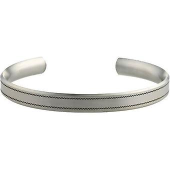 Ti2 Titanium 8mm bred bølget syet mønster armbånd - Sølv