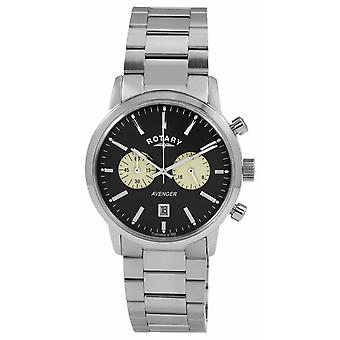 Rotary Mens Avenger Stainless Steel Black Dial GB02730/04 Watch