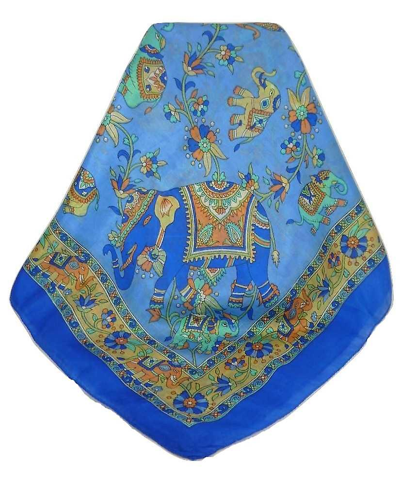 Classic Paisley Square Scarf Mulberry Silk Kakaul French Blue by Pashmina & Silk