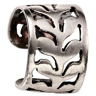 Begynnelse blad mønster Cut-out øret Cuff - sølv