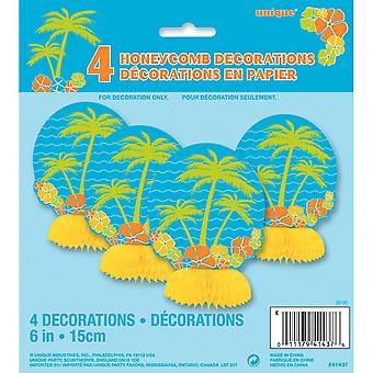Unique Party Island Paradise Mini Honeycomb Paper Decorations (Pack of 4)