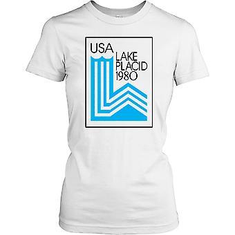 USA Lake Placid 1980 Winter Olympics Ladies T Shirt