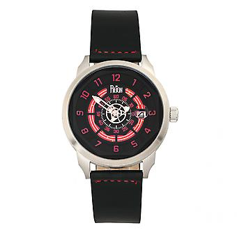 Reign Lafleur Automatic Leather-Band Watch w/Date - Silver/Red