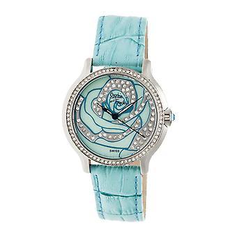 Sophie & Freda Monaco MOP Swiss Ladies Watch - Silver/Turquoise