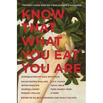 Know That What You Eat You Are: The Best Food Writing from Harper's Magazine (American Retrospective)