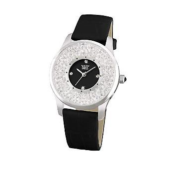 Davis-1780-rhinestone fashion Watch-Black Dial-Black Leather Strap