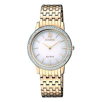 Watch women Citizen quartz analog display stainless steel White Dial and Gold Plated strap EX1483-84.