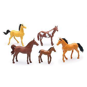 Land livet gård djur Set, fem hästar utan sadlar (05593D)