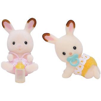 Sylvanian rodzin czekolada królik bliźniaki dla dzieci, zabawki