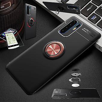 For Huawei Y6 2019 ultra tynn magnet metall ring saken svart/rosa + hardt glass bag ermet deksel