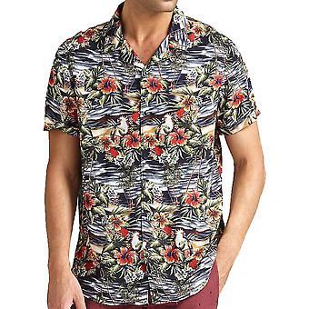 Guess Havaian floral print camisa de manga curta