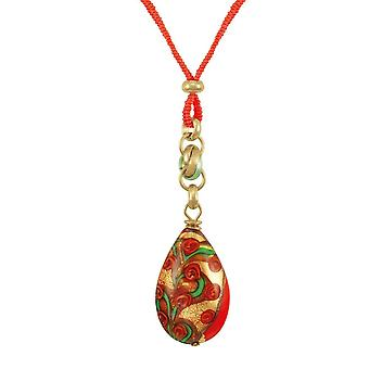Eternal Collection Genoa Fiery Orange Venetian Murano Glass Teardrop Pendant