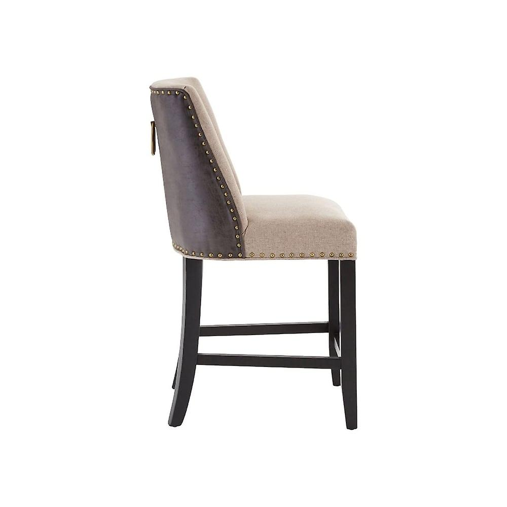 Fusion Living Beige Fabric And Brown Faux Leather Rodeo Bar Stool