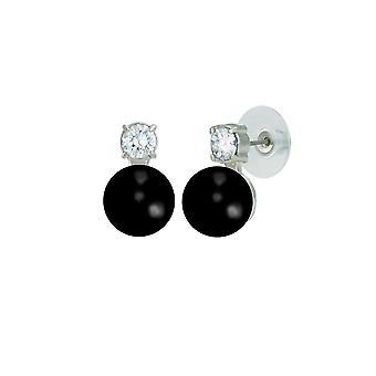 Eternal Collection Eternity Black Onyx & CZ Silver Stud Pierced Earrings