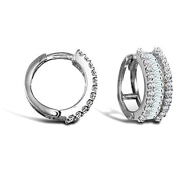 Jewelco London Ladies Solid 9ct White Gold White Round and Baguette Cubic Zirconia Eternity 5.5mm Huggie Hoop Earrings 15mm