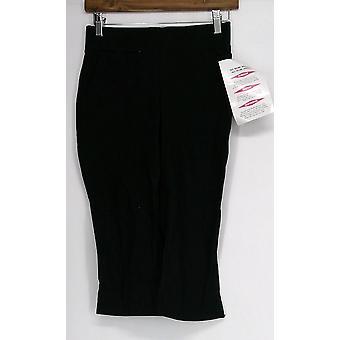 Femmes w/ Contrôle Petite Pantalon Contour Waist Pull-On Black A251516