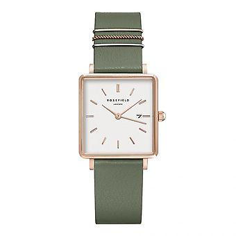 Rosefield QOGRG-Q027 Watch - Bo tier m tal gold pink gold white dial with green leather strap dator adorned with women's rings