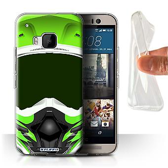 STUFF4 Gel/TPU Case/Cover für HTC One/1 M9/Motocross/Green/Motorradhelm