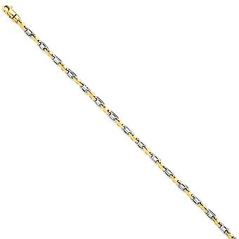 14k Dois Tons Sólido Ouro Polido 3.5mm Fancy Link Chain Bracelet Joias de Joias para Mulheres - Comprimento: 7.25 a 8.25