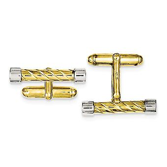 925 Sterling Silver Solid Textured Polished and 14k Gold Plated Bar Cuff Links Jewelry Gifts for Men