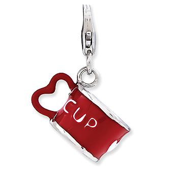 925 Sterling Silver Rhodium plated Fancy Lobster Closure Enameled 3 d Love Heart Cup With Lobster Clasp Charm Pendant Ne