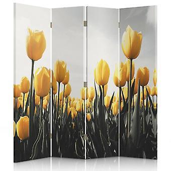 Divisor de quarto, 4 painéis, duplo-face, lona, tulipas amarelas