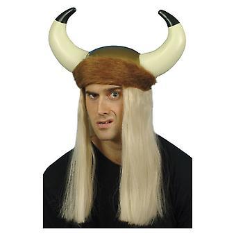 Mens Viking helm & haar Fancy Dress accessoire