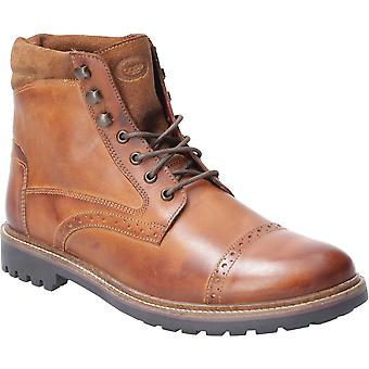 Base London Mens Quail Burnished Leather Laced Brogue Boots