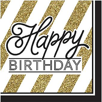 Creative Converting Black And Gold Happy Birthday Napkins (Pack Of 16)