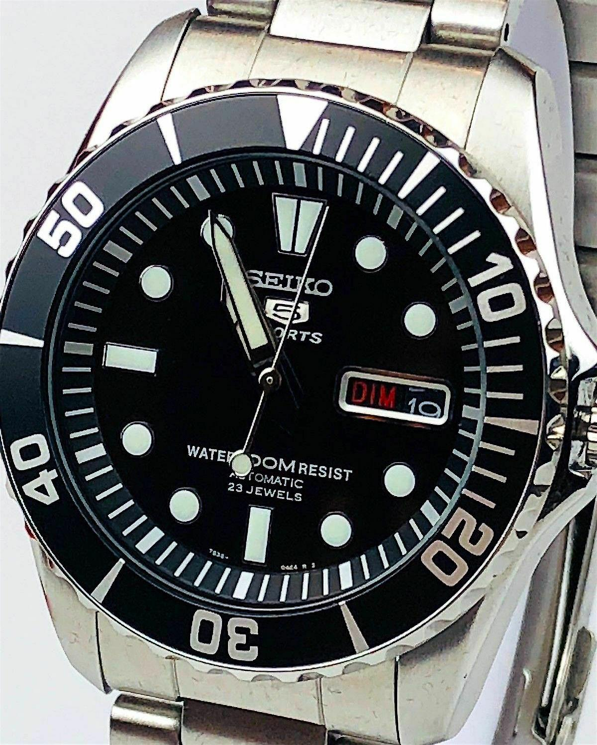Seiko 5 Sports Automatic Black Dial Stainless Steel Men's Watch SNZF17K1