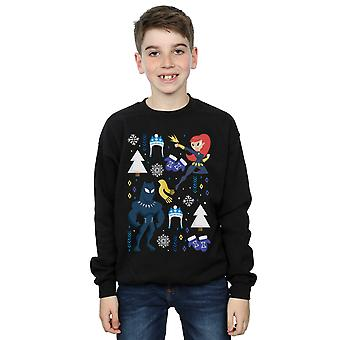 Marvel Boys Black Panther And Black Widow Christmas Day Sweatshirt