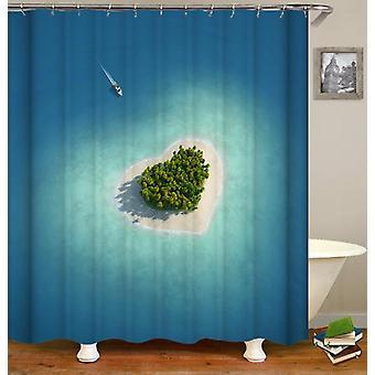 The Heart Shape Island Shower Curtain