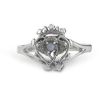 Luckenbooth amor y lealtad Twin Love Corazones corona surmounted corona de María Reina de Escocia Anillo - Genuina piedra preciosa escocesa ágata