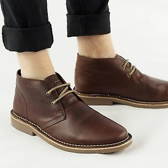 Roamers Maynard Mens Leather Desert Boots Brown
