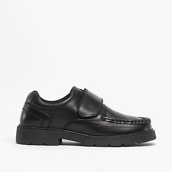 Roamers Albert Boys Leather Touch Fasten Shoes Black