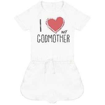 I Love My GodMother Red Heart Baby Playsuit