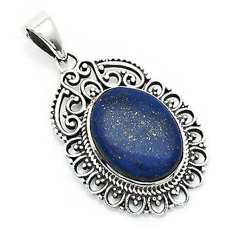 Amuleto de caneta de corrente prata 925 Sterling Silver Lapis Lazuli Blue Stone (Nr: MAH 144-06)