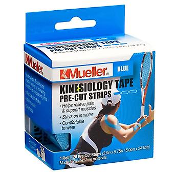 Mueller sports medicine kinesiology tape, pre-cut strips, blue, 20 ea
