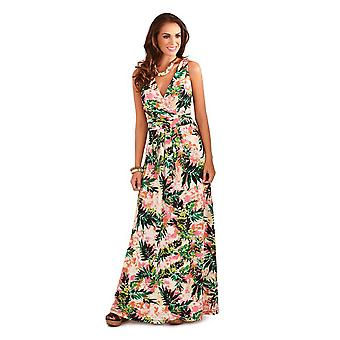 Pistachio Women's Tropical Print  Maxi Dress